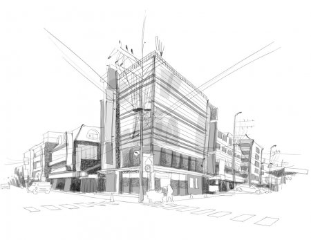 Illustration for Vector City Street Sketching - Royalty Free Image