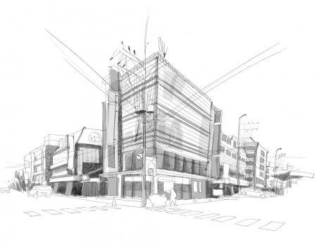 Illustration pour Vecteur ville rue croquis - image libre de droit