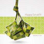 Vector Muslim Ketupat Rice Dumpling Translation: Happy Eid al-Fitr ( Feast of Breaking the Fast)