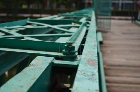 Bolts on a Bridge -Weathered bolts on a steel beam, part of a br