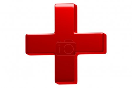 This illustration is a 3D render of a red cross ov...