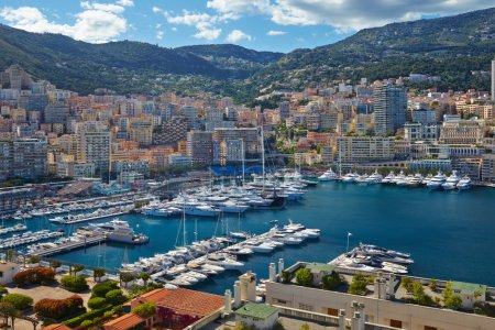 View of luxury yachts in harbor of Monaco. Bay Cap Dail.
