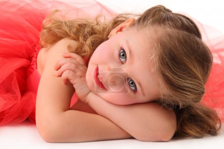 Photo for Closeup portrait of cute little girl in red dress isolated on white - Royalty Free Image