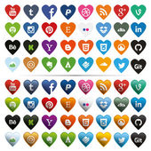 Social Media Icons Heart-Shaped