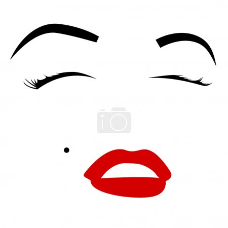 An illustration of Marilyn Monroe's facial feature...