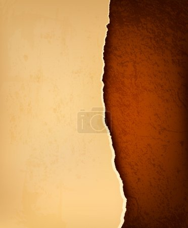 Retro background with old ripped paper and brown leather. Vector