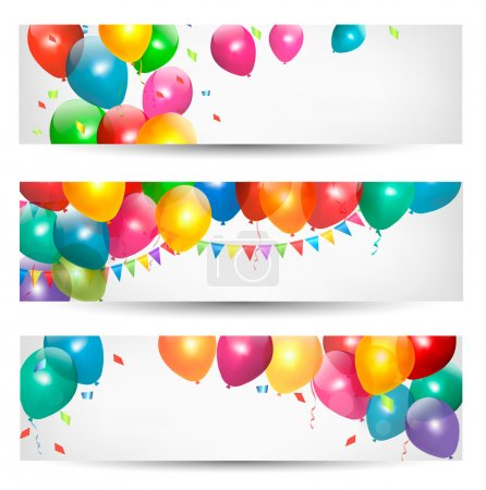 Photo for Holiday banners with colorful balloons. Vector. - Royalty Free Image