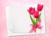 Holiday background with sheet of paper and flowers Vector illus