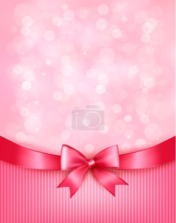 Illustration for Holiday background with gift pink bow and ribbon. Vector - Royalty Free Image