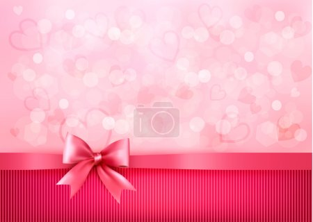 Holiday background with gift pink bow and ribbon. Valentines Day