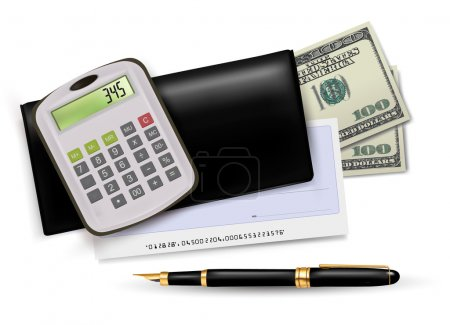 Black checkbook with check, calculator and dollars.