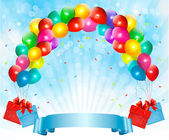 Holiday background with colorful balloons and gift boxes Vector