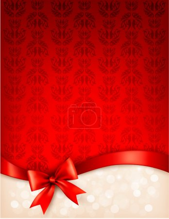 Holiday background with gift glossy bow and ribbon. Vector illus