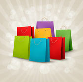 Background with colorful shopping bags Discount concept Vector illustration