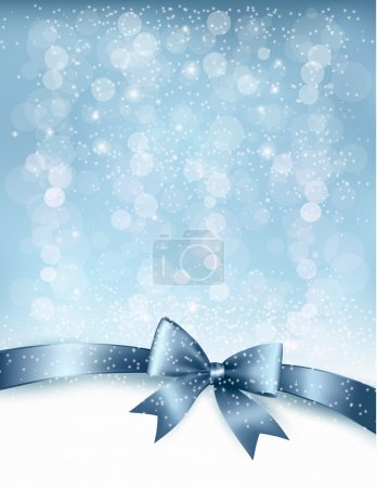 Christmas Holiday background with gift glossy bow and ribbon. Ve