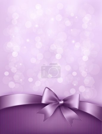 Illustration for Elegant holiday background with gift bow and ribbon. Vector - Royalty Free Image