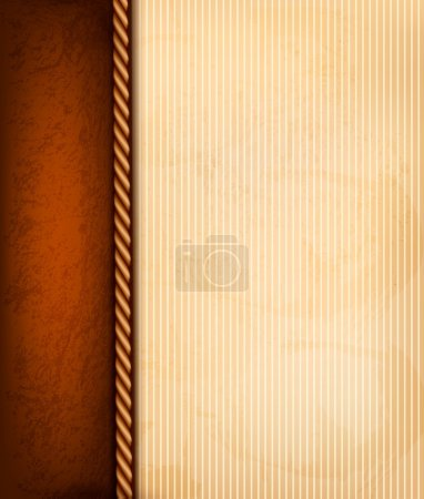 Vintage background with old paper and brown leather. Vector illu