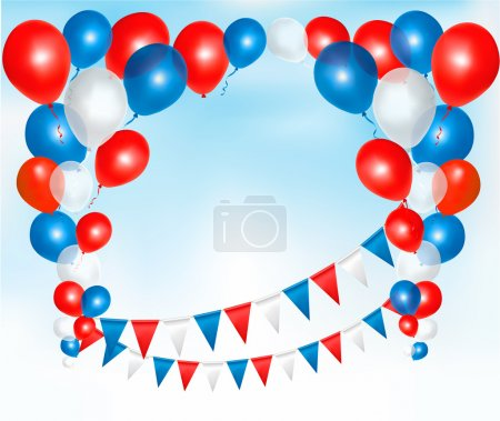 Red, blue and white balloons frame composition with space for yo