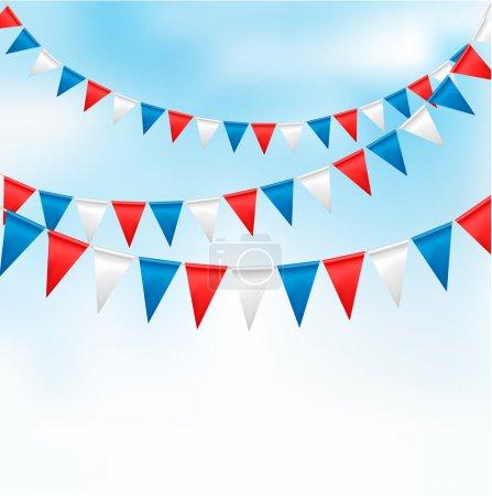 Ilustración de Fondo de vacaciones con banderas de cumpleaños. Vector - Imagen libre de derechos