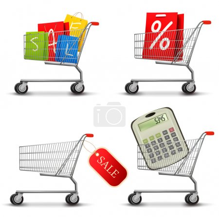 Collection of shopping carts full of shopping bags and a sale la