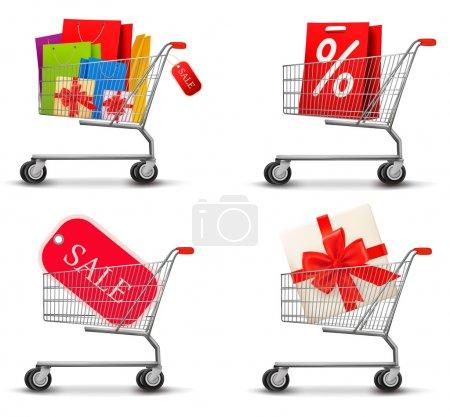 Illustration pour Collection de chariots remplis de sacs à provisions et de boîtes-cadeaux. Concept de réduction. Vecteur . - image libre de droit