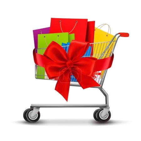 Illustration pour Panier rempli de sacs à provisions et d'un noeud cadeau. Concept de réduction. Vecteur . - image libre de droit