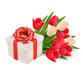 background with gift box and flowers Vector