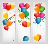Dovolená bannery s barevnými balónky. vektor