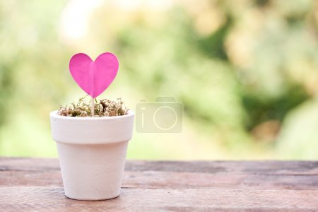 Photo for Pink paper heart on a green background - Royalty Free Image