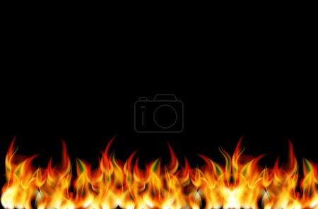 Illustration for Realistic Fire Vector on black background - Royalty Free Image