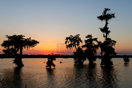 A kayak heads in at sunset on Lake Martin in Breau...