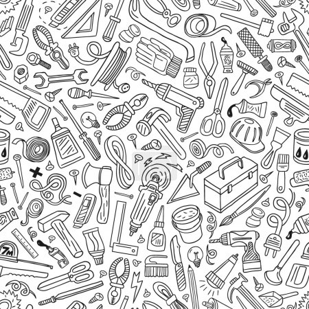 Illustration for Working tools - seamless vector pattern - Royalty Free Image