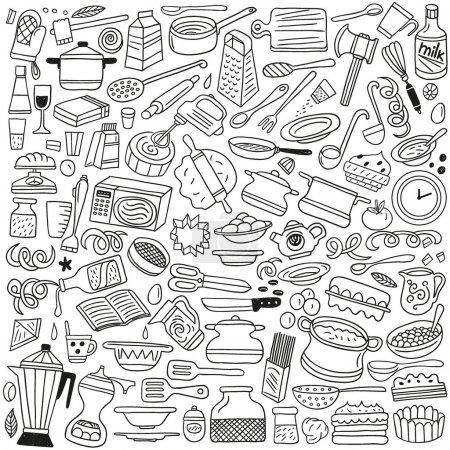 Illustration pour Cuisine - définir des icônes dans le style croquis - image libre de droit