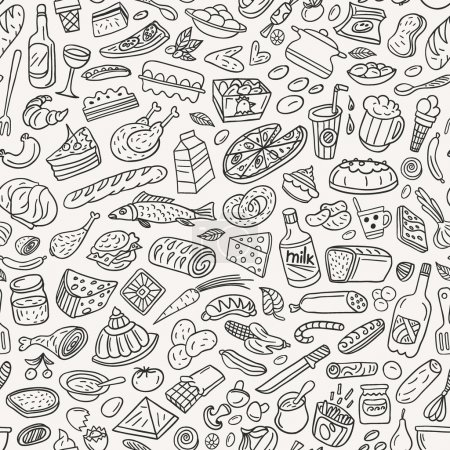 Illustration for Food ,cookery - seamless pattern with icons in sketch style - Royalty Free Image
