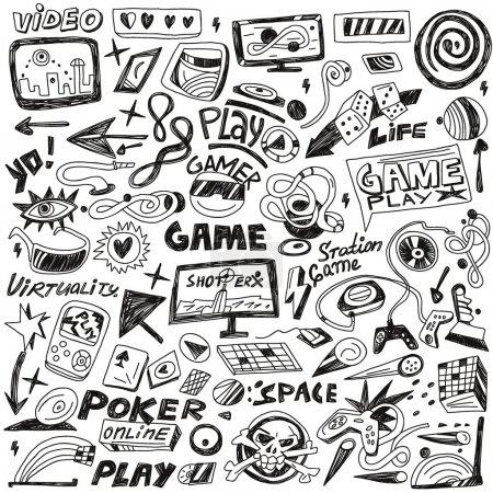 Illustration pour Jeux d'ordinateurs - définir des icônes vectorielles dans le style de croquis - image libre de droit