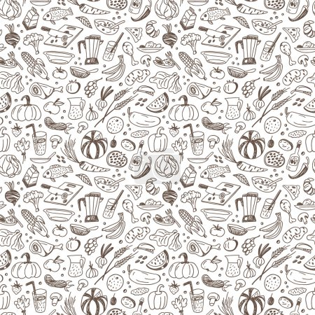 Raw food - seamless background with icons in sketc...