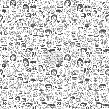 Illustration for Faces - seamless bacground with icons in sketch style - Royalty Free Image