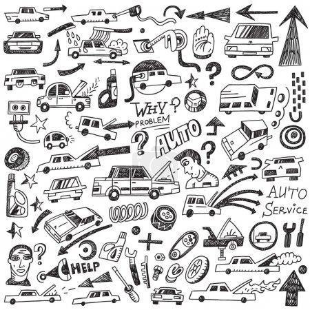 cars , auto repair - doodles