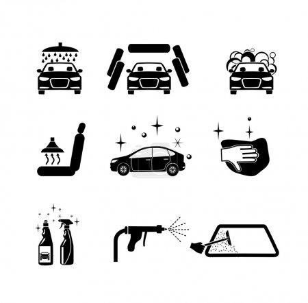 Illustration pour Lavage de voiture. Quatre variantes de lavage de voiture icônes ensemble . - image libre de droit