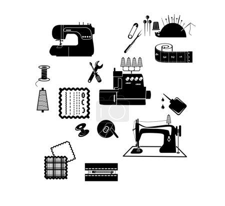 Illustration pour Équipement de couture vectoriel - image libre de droit