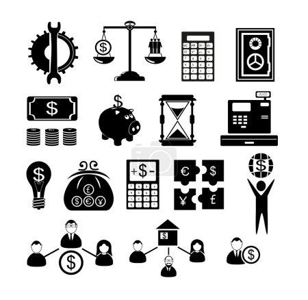 Illustration pour Icônes de gestion des ressources humaines - image libre de droit