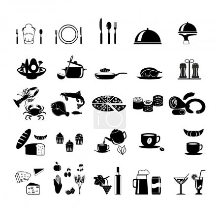 Photo pour Ensemble d'icônes Food and Drink Série élégante - image libre de droit