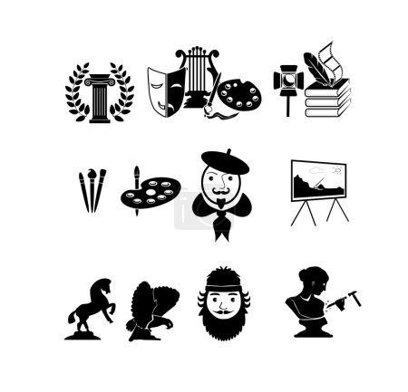 Illustration pour Icônes vectorielles peintre et sculpteur. art Ensemble d'icônes - image libre de droit