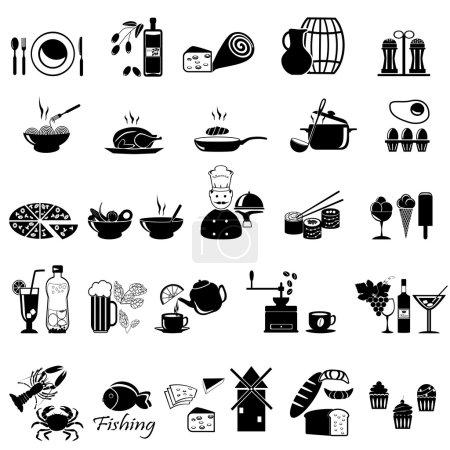 Photo pour Icônes de nourriture et de boisson ensemble pour fond blanc - image libre de droit