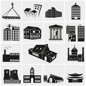 Set of various buildings