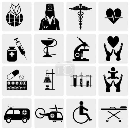 Illustration for Vector medical icon set on gray - Royalty Free Image