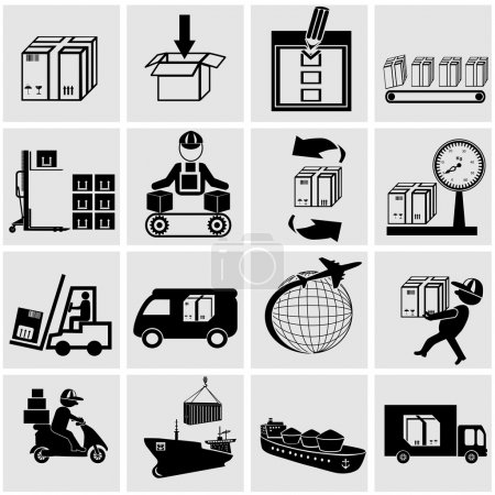 Illustration for Business, supply chain, shipping, shopping and industry vector icons set. - Royalty Free Image