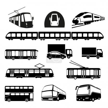 Illustration for Transportation icons. Vector illustration. - Royalty Free Image