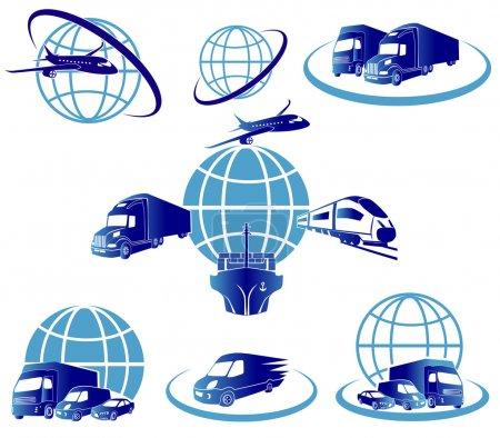 Illustration pour Global logistique concept illustration.. Globe, avion (avion), camion, train et cargo porte-conteneurs. - image libre de droit