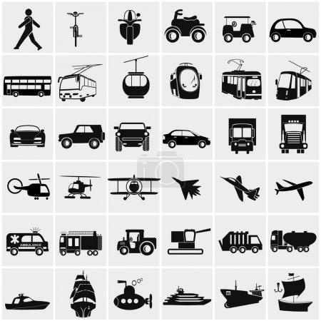 Illustration for Vector black big transportation icon set on gray - Royalty Free Image
